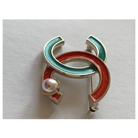 Chanel-Pins & brooches-Red,Green