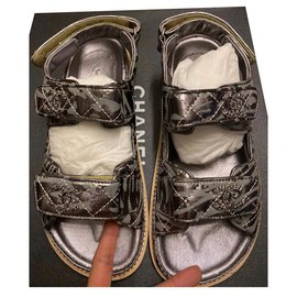 Chanel-Chanel dad sandals size 35-Silvery