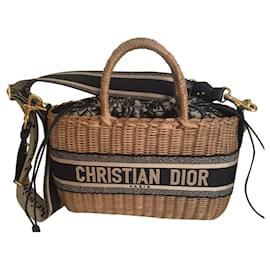 Dior-Dior wicker basket bag-Blue