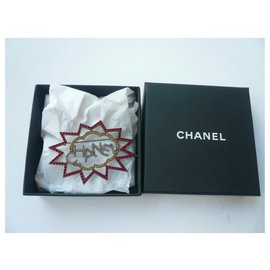 Chanel-CHANEL Silver plated brooch set with brilliants NEW-Silvery