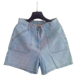 Bill Blass-High-waisted Vintage Bill Blass retro shorts in light blue denim. In perfect condition.-Blue,Light blue