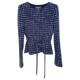 Chanel-5,6K$ Belted Tweed Jacket-Navy blue