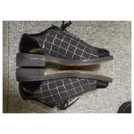 Chanel-Chanel lace up Oxford loafers-Black