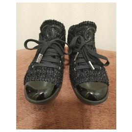 Chanel-chanel tweed lace up-Black