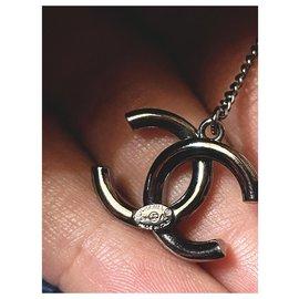Chanel-Earrings-Black,Silvery,Metallic