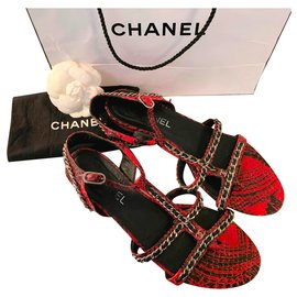Chanel-Python and chain sandals-Black,Red,Silver hardware