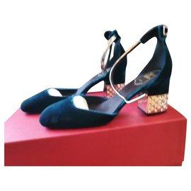 Roger Vivier-roger vivier velvet heels Sandals-Navy blue