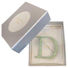 Dior-Superbe Broche Dior pavée de strass-Argenté