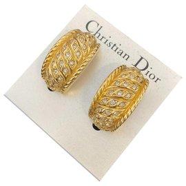 Dior-Boucles d'oreilles Dior dorées à strass-Doré