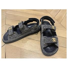 Chanel-Papai sandálias-Cinza