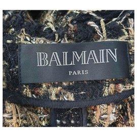 Balmain-BALMAIN Tweed Floor-Length Belted Cardigan with Fringe Sz.38-Multiple colors