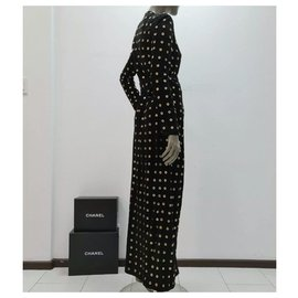 Balmain-BALMAIN Black Suede Gold Circles Maxi Coat Cardigan Dress Sz.36-Multiple colors