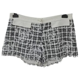 Chanel-Chanel Black White Camellia Tweed Shorts Sz 40-Multiple colors