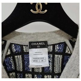 Chanel-Chanel Blue Navy Grey Pearl Sequin Cashmere Cc Sweater Cardigan Sz 36-Multiple colors