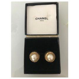 Chanel-Earrings-Cream,Gold hardware