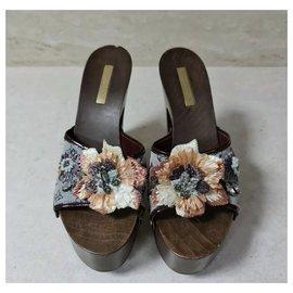 Louis Vuitton-NWOB Louis Vuitton Monogram  Raffia Flower Platform Clogs Sandals-Multiple colors
