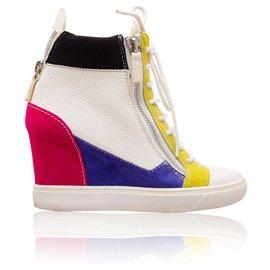 Giuseppe Zanotti-Colorblock Leather Wedge Sneakers-Multiple colors