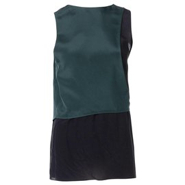 3.1 Phillip Lim-Fencing Layering Sleeveless Top with Judo Belt Detail-Green