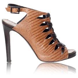 Proenza Schouler-Tie Up Leather Booties-Brown