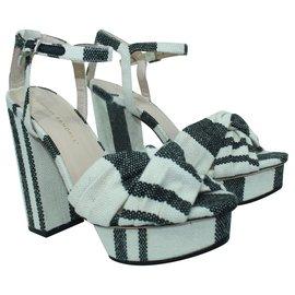 Loeffler Randall-Black and White Striped Block Heels-White