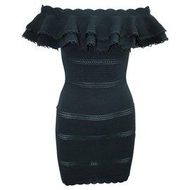 Alexander Mcqueen-Off Shoulder Mini Black Dress-Black