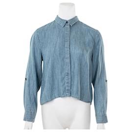 Alice + Olivia-Cropped Denim Long Sleeved Shirt-Blue