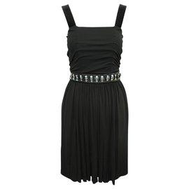 Dolce & Gabbana-Elegant Black Dress with Embroidery-Black