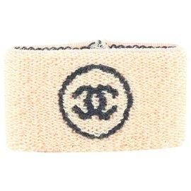 Chanel-Pink x Black Wristband Sweat Band Gym Bracelet-Other