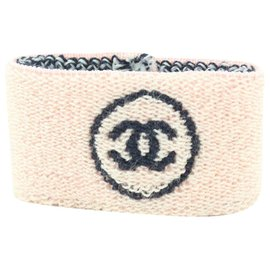 Chanel-Pink x Black Gym Bracelet Sweatband Wrist Band-Other