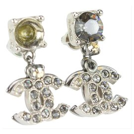 Chanel-06P Silver Crystal CC Drop Earrings-Other