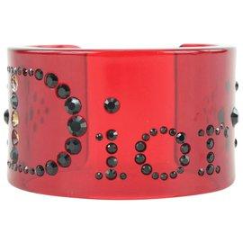 Dior-Bracelet manchette à logo en cristal noir translucide rouge-Autre