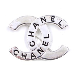 Chanel-Chanel Silver CC Spelled Out Pin Brooch-Silvery