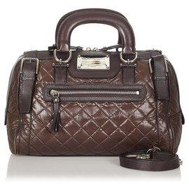 Dolce & Gabbana-Dolce&Gabbana Brown Miss Easy Way Quilted Leather Boston Bag-Brown,Dark brown