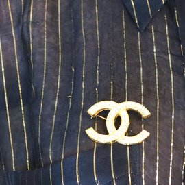 Chanel-Chanel Gold Timeless CC Smoked Crystals Brooch-Golden