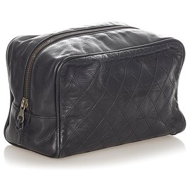 Chanel-Chanel Black Matelasse Lambskin Leather Pouch-Black