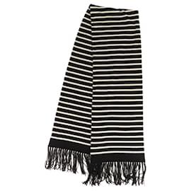 Chanel-Chanel Black Cashmere Scarf-Black,White