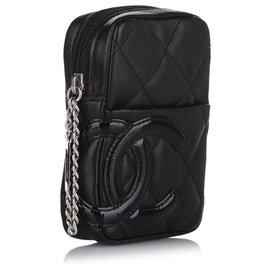 Chanel-Chanel Black Cambon Ligne Leather Pouch-Black