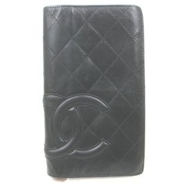 Chanel-Black Cambon Leather Bifold Yen Long Flap Wallet-Other