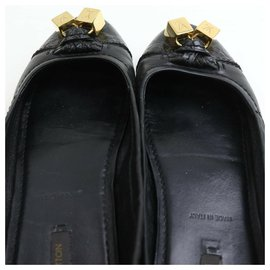 Louis Vuitton-Size 36.5 Womens Black LEather Gold Dice Cube Ballerina Flats-Other