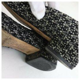 Chanel-Size 39 Black Tweed Camellia CC Ballerina Flats-Other