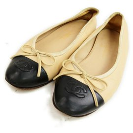 Chanel-Size 36 Beige x Black CC Logo Cap Toe Ballerina Flats-Other