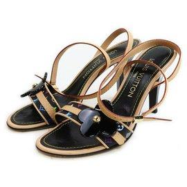 Louis Vuitton-Size 36 Black Monogram Multicolor Fleur Strappy Sandals-Other
