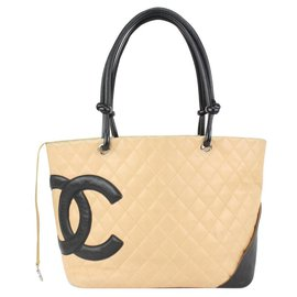Chanel-Beige Quilted Cambon Tote Bag-Other