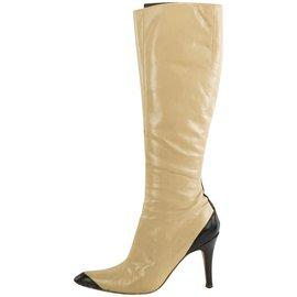 Giuseppe Zanotti-Beige x Black Diva 90 High boots-Other