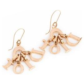 Dior-Boucles d'oreilles pendantes Dior dorées à logo en cristal-Doré,Métallisé