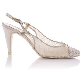 Chanel-Chanel White Floral Mesh Tweed Cap Toe Slingback Sandals-White,Cream