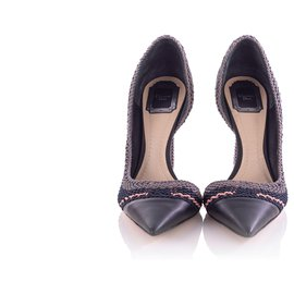 Christian Dior-Chrisitan Dior Tri Color Woven Songe Pointed Toe D'orsay Pumps-Blue,Navy blue