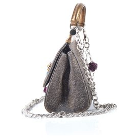 Dolce & Gabbana-Bronze sparkly fabric Mini Sicily w/Crystal Logo & Flowers on Chain-Metallic,Bronze