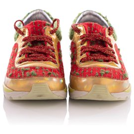 Chanel-Chanel Runway Tweed Gold Leather Sneakers-Multiple colors