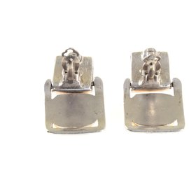 Chanel-Silver Square Dangling Earrings w/CC on Top & Gold Ball-Metallic